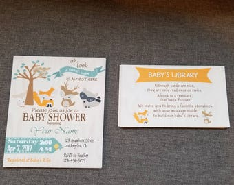 Free Shipping - baby shower invitations animals, woodland animal baby shower invites, baby shower invites woodland