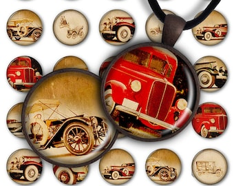 75% OFF SALE Digital Collage Sheet Vintage Cars 1inch Round 25mm Circle Pendant Printable Download PC041 Instant Download Jewelry Making