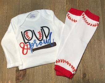 "Baseball Design Onesie® and Leg Warmer Set // ""Loud and Proud"" // Embroidered // MLB // Leg Warmers // Baseball Season // Sports"