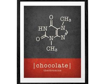 Chocolate molecule print. Chocolate print chocolate poster red kitchen print kitchen poster Theobromine chocolate lover gift chocolate gift