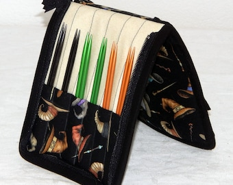 """12 pair capacity Interchangeable knitting needle crochet hook case for 3.5"""" to 6.25"""" in length to size 9 You're a Wizard Harry Potter"""