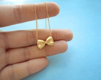 Cute, Pasta, Farfalle, Ribbon, Gold, Silver, Rose gold, Necklace, Birthday, Friendship, Mom, Sister, Gift, Jewelry