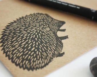 Set of 6 A6 Envelopes, Hedgehog, Original Hand Printed Envelopes, Handcarved Stamp, Brown Kraft Card, Free Postage in UK,