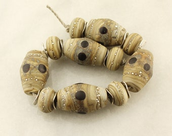 Lampwork Glass Bead Set  Etched Rustic Organic - Brown, Gray, Black, Silver