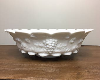 Vintage Westmoreland Paneled Grape Milk Glass Footed Bowl - 12""
