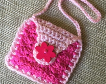 Crochet Doll Purse, American Girl Doll Purse, 18 inch Doll Accessory, Handmade Doll Bag, Gift for Girl, Pink Doll Purse, Flower Button