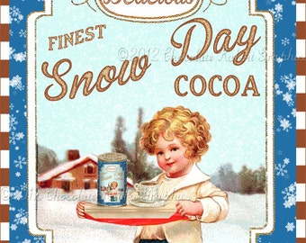 Vintage Christmas Label Cocoa Tag Instant Digital Download Printable Aged or Color Image Collage Scrapbook Sheet