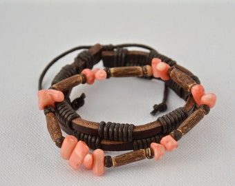 2 mens bracelets. Back to the roots-coral-coco-leather,gemstone jewelry