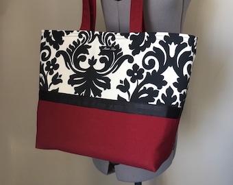 large CLASSIC red black & white handbag sturdy tote bag with pockets and key clip/ by maris rae handbags