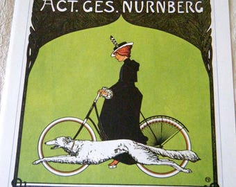 Vintage Bicycle Poster Print 1900s Victoria Bicycles / Pirelli Tires Poster Size Book Plate
