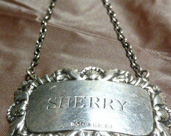 Free Shipping:  Two (2) Sterling Decanter Tags, One Sherry and One Blank