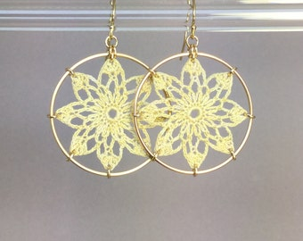 Tavita doily earrings, ivory hand-dyed cotton thread, 14K gold-filled