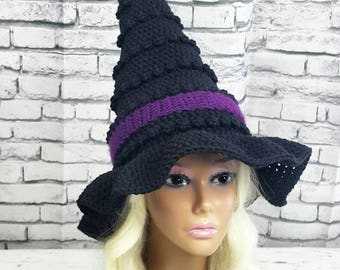Witch Hat   Adult Witches Hat   Black and Orange Witch Hat   Halloween Costume   Witch Costume Hat   Made To Order Witches Hat   Adult Hat
