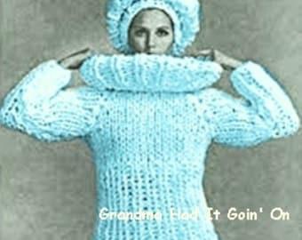 KNITTING PATTERN - Chunky sweater - Hat Set - Vintage Beret Pattern - PDF Instant Download - Cowl Knitted Sweater - Crochet Pattern Vtg