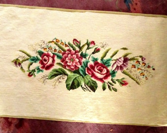 Large Needlepoint with Roses, for Piano Bench or Pillow