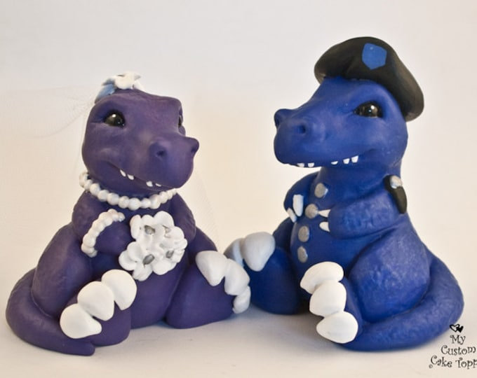 Dinosaur Cake Topper - Cute T-Rex Dino Bride and Groom Wedding Cake Topper