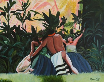 Hula dancers, hula, Hawaiian hula, hula art, hula print, hula painting, hula decor, aloha, tropical art, hawaii art, hawaii print
