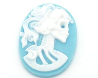 Skeleton Cameo Cabochons Gothic Cameo Skull Cameo Skeleton Cabochons Lolita Cameo Skeleton Lady Cameo Oval Cabochons 25x18 Cabochons Blue