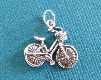 Bicycle pendant etsy sterling silver bicycle pendant or charm aloadofball Image collections
