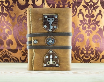 Mystic Leather Medieval Journal, Steampunk Journal, Mystery Book, Aged Paper, Vintage Brown Leather Journal, Soft Cover Journal