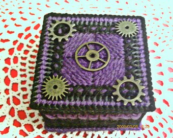 Purple And Black Steampunk Trinket Box