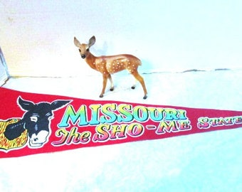 Large Vintage Pennant Souvenir Missouri Sho-Me State, Donkey, Travel Tourist Trip, Upcycle Craft Family Vacation Canvas Flag Show Me State