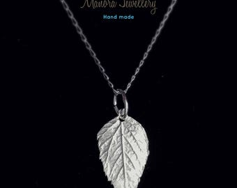 silver Chain Necklace, Leaf necklace, Silver pendant chain, Silver leaf pendant, Nature jewellery, Silver jewelry, nature pendant