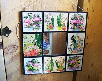 pink flamingo mirror retro vintage 1950's Florida rockabilly kitsch wall mirror