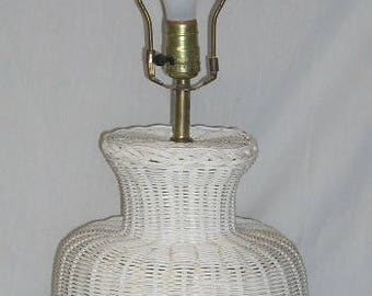 Vintage White Wicker Table Lamp with Wood Finial