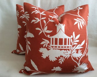 "Pair of Designer Pillow Covers - Linen Blend Pagoda Print - Vern Yip ""Mondera"" Screenprint for Trend - Red Orange/ White - 18x18 Covers"