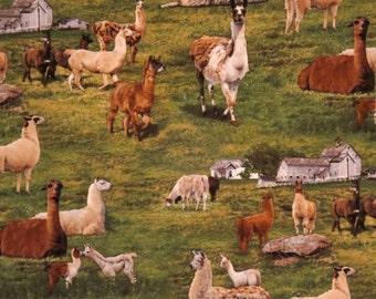 Alpaca Farm Print Pure Cotton Fabric from Elisabeth Studios--By the Yard