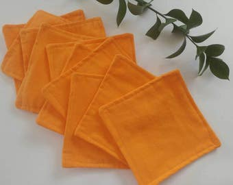 Set of ten cloth wipes, flannel wipes, baby wipes, family cloth, double sided, topstitched, orange, quality, made to order, handmade