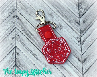 Role Playing Gaming 20 Sided Die Dice Vinyl Keychain / Key Chain / Key Fob