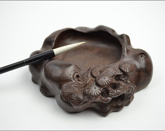 Free Shipping Chinese Calligraphy Material  15x5cm Hollow Sculptured Water Bowl Brush Washing Bowl - Rosewood - Antique Style -  0011