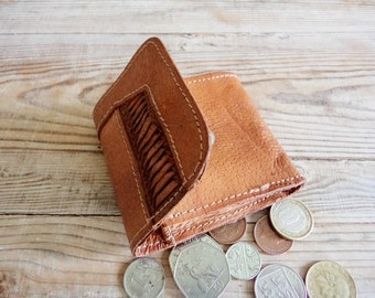 Vintage Leather Coin Purse, Coin Pocket Wallet, Brown Leather Wallet, Old Handmade Wallet, Gift for Girlfriend, Gift for Boyfriend