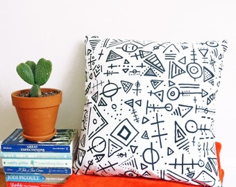 Caveman Pillow - Manly Home Decor - Office Pillow - Throw Pillow Black and White