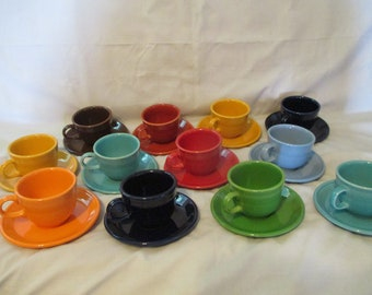 12 Vintage HLC Fiesta Tea Cup and Saucers