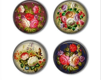 Zhostovo Russian Folk Art magnets or pins, Russian flowers, refrigerator magnets, fridge magnets, office magnets