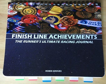 Running Racing Journal Finish Line Achievements, marathon, half. Sale-Buy 2 get 1 free! Perfect gift for your favorite runner! Ships Free!