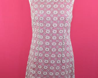 Glitter Glam Sparkling Lurex 60s Mod Dress Silver Pink Shift Dress