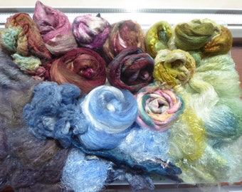 Luxury hand dyed silk selection a great mix of colour and textures - LMSP19