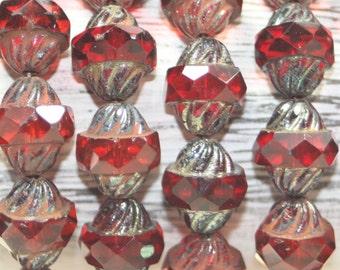 Czech Glass Beads, Turbine Beads, 15 Beads