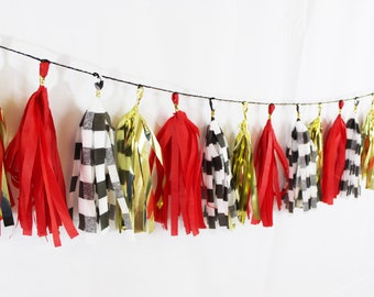 Red, Gold, and Black and White Striped Tassel Garland | Red and gold tassel Garland | Striped Tassel Garland | Red Party Decor | Tassel Bann