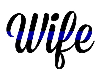 Thin Blue Line Wife Decal, Thin Red Line Decal, police wife decal, sheriff wife decal, fireman wife decal, thin red line, thin blue line
