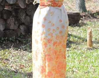 50's DRESS Vintage Gown Floral Hollywood Dress by Jean Pierce