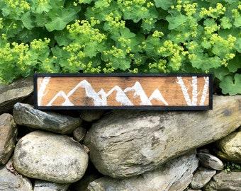Reclaimed Wood Mountain and Birch Tree Art