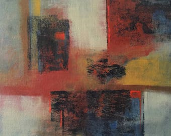 "Original Acrylic Abstract Painting, Original Artwork, Abstract Painting, Red, Yellow, Blue, White, Canvas on Panel,  ""No Exit"""