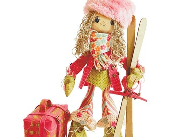"Doll Making Kit, Set for sewing doll, Textile doll ""Skier"", Set for textile doll, Handmade doll, Sewing kit, Rag doll, FREE SHIPPING"