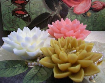 Beeswax Lotus Flower Candle Water Lily Choice Of Color