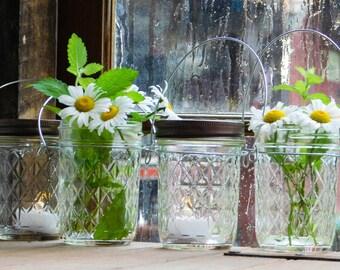 Four Half Pint Quilted Mason Jar Lights Lantern Candle Hanging Vase Outdoor Lighting Wedding Gift